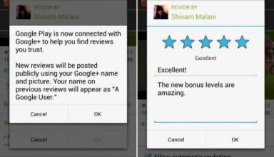 Google Play Google+ names