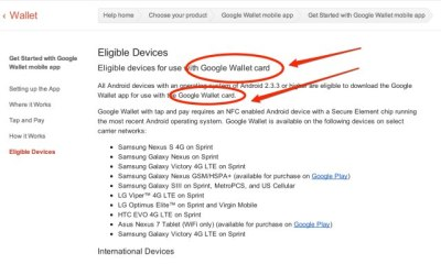 Google Wallet card support page