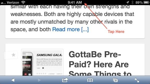 Jump to top of iPhone Safari