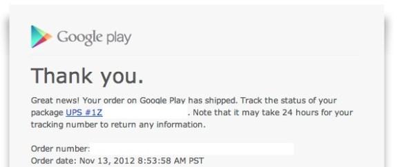Nexus 4 tracking number