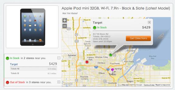 iPad mini in stock at local store