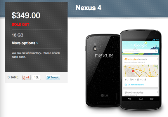 16GB Nexus 4 Out of Stock Again