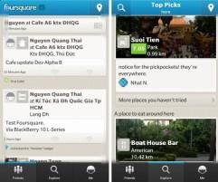 BlackBerry 10 leak Foursquare