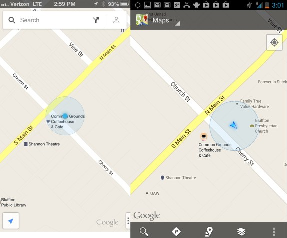 Google Maps for iPhone - vs Android