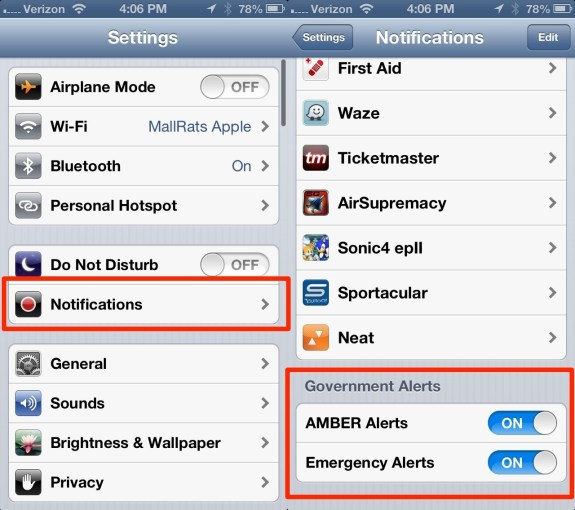 iOS 6 iPhone Amber Alerts