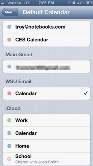 Choose Default Calendar