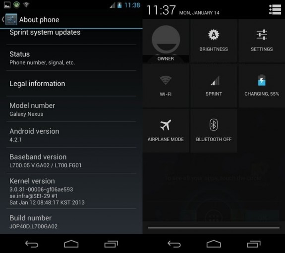 Sprint Android 4.2 Update Leaks