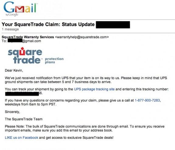 squaretrade status email