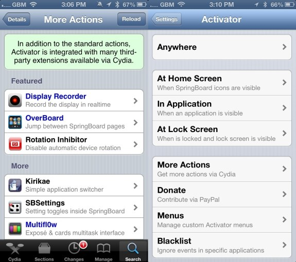 Activator Cydia App iOS 6 Jailbreak app
