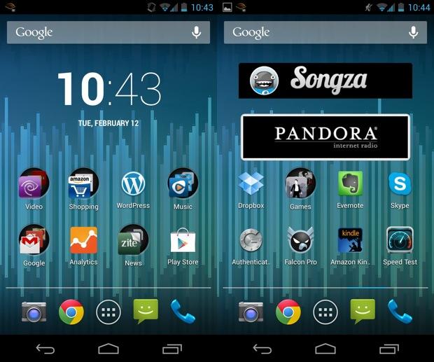 Nexus 4 Home Screens