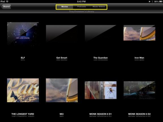 Choose Video Content (iPad)