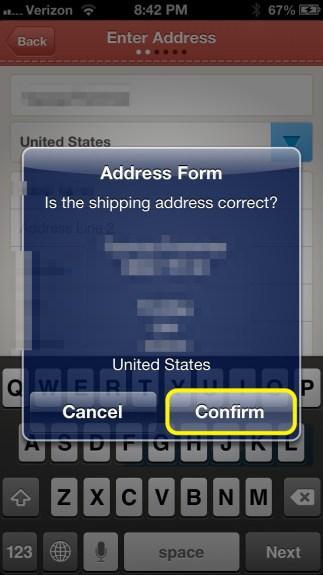 Confirm Address