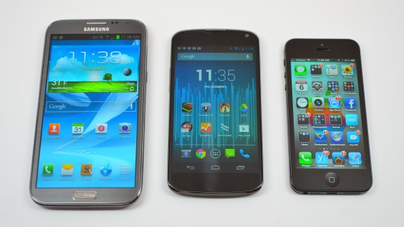 The Nexus 4, in the middle, next to the Galaxy Note 2 and iPhone 5.