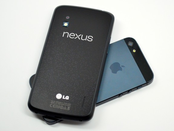 The Nexus 4 and the iPhone 5.