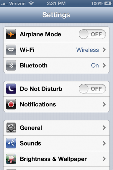 iPhone Settings App