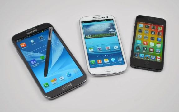 Samsung Galaxy Note 2 vs Galaxy S3 vs iPhone 5 - 6