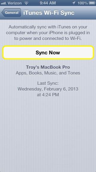 Sync iPhone