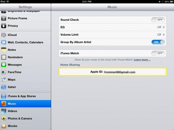 Tap Apple ID (iPad)