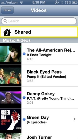 Tap Shared Videos (iPhone)
