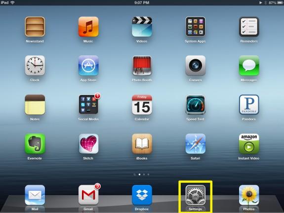 Tap iPad Settings