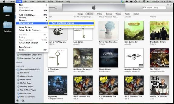 Turn On Home Sharing (Mac)