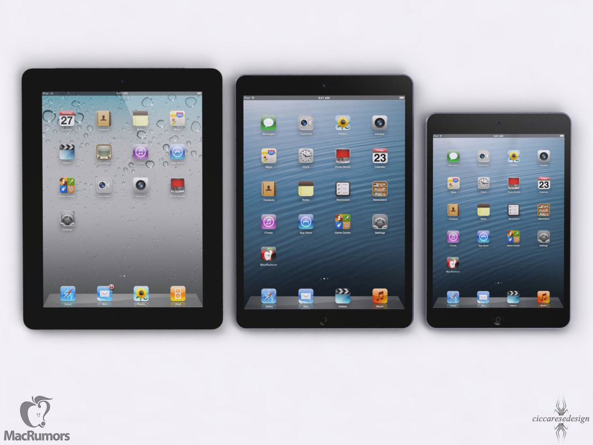 ipad 5 vs ipad 4 v s ipad mini renders show size comparisons. Black Bedroom Furniture Sets. Home Design Ideas