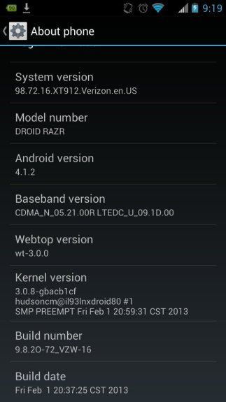 Screenshot showing the Droid RAZR and Droid RAZR MAXX Jelly Bean update in the wild.