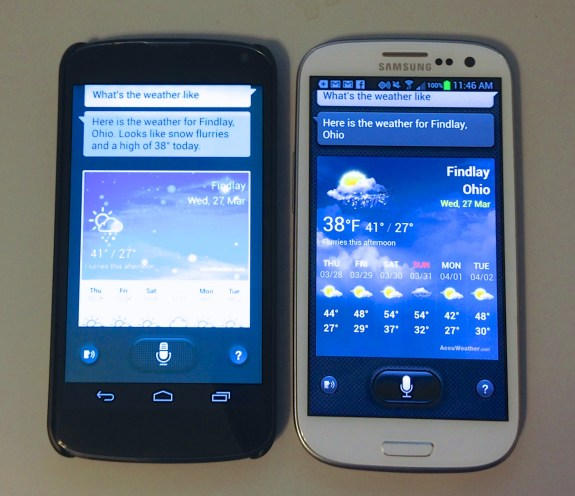 S Voice from the Galaxy S4 on the Nexus 4 (left) vs S Voice on the Galaxy S3 (right).