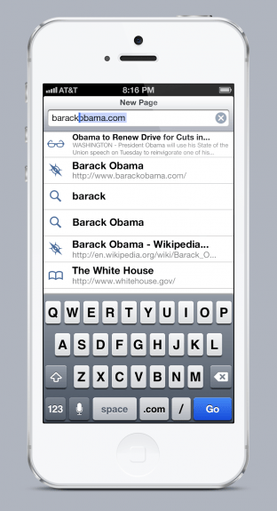 This is what Safari in iOS 7 could look like with a unified search and URL bar.