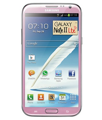 The Galaxy Note 2 LTE in pink.