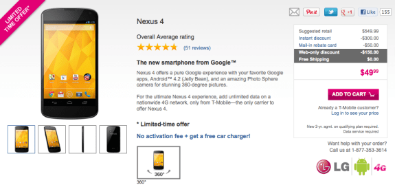 The Nexus 4 is much cheaper than many of T-Mobile's other high-end smartphones.