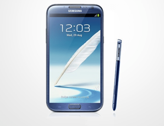 The Samsung Galaxy Note 2 in Topaz Blue.