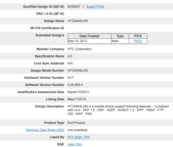 This filing could be for Verizon's HTC One.