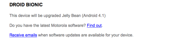 The Droid Bionic Android 4.1 update could be next in line from Motorola.