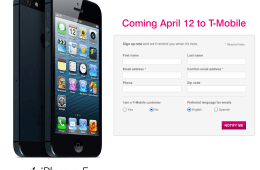 Users can pre-register for the T-Mobile iPhone 5 to pick one up on April 12th.