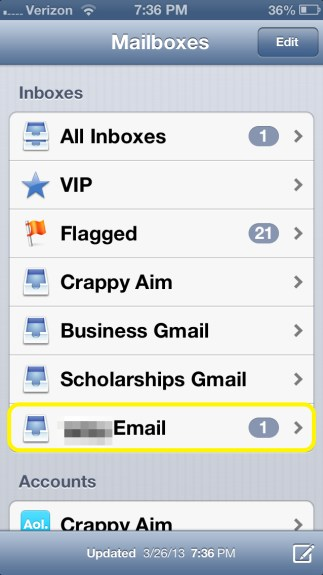 Tap Email Account