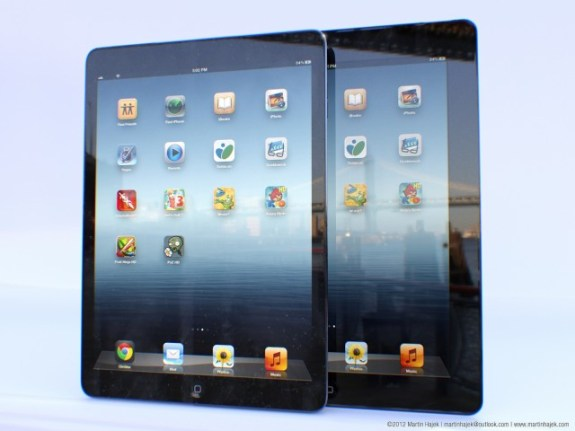 An iPad 5 concept showing what the iPad 5 could look like next to the iPad 4.
