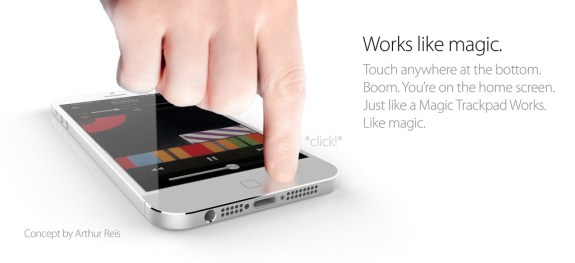 This iPhone 6 concept features a touch anywhere home button.