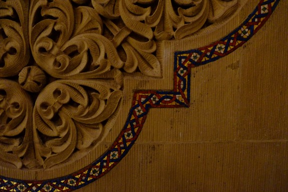 Sharp details are still possible even with low available light in the Memorial Church at Stanford University.