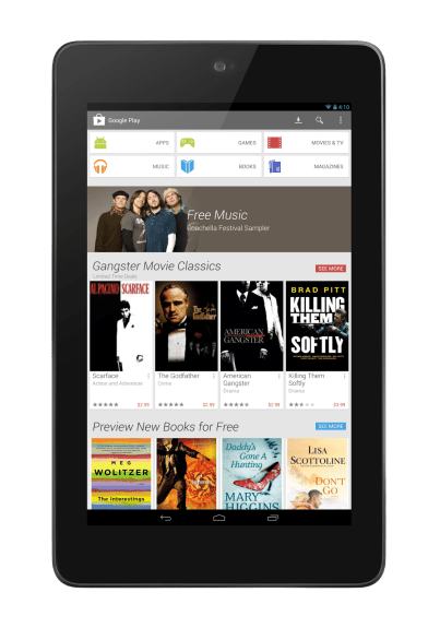 Google Play Store 4.0 running on the Nexus 7 tablet, an update which should roll out to all users soon.
