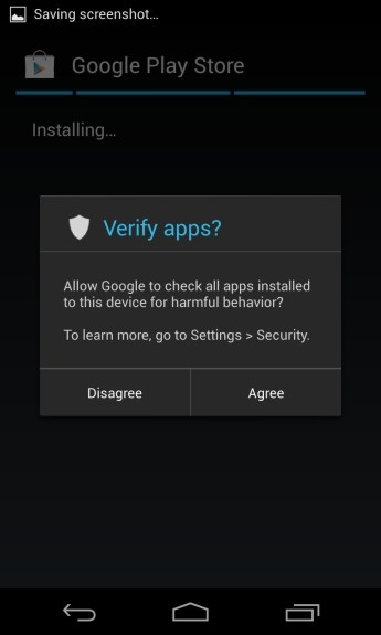 Choose to allow the Google Play Store 4.0 to search for harmful apps, or decline the free security feature.