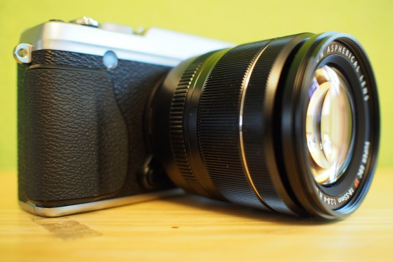 Hand grip on the front of the camera aids in handling. The grip is somewhat shallow. Users can opt to get a grip accessory or a half-case to improve ergonomics.