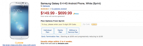 The Galaxy S4 has seen deals arrive on Amazon.