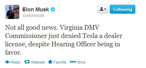 Tesla Loses Virginia