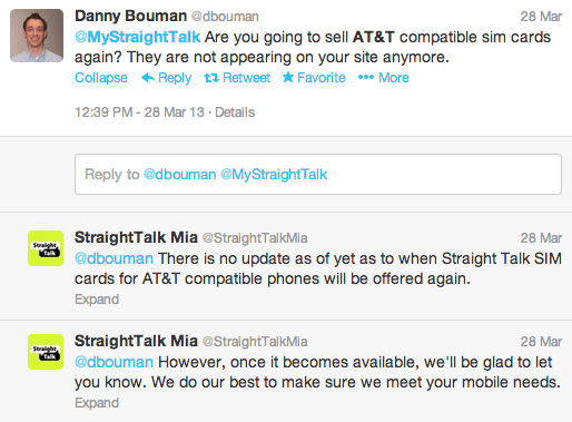 Straight Talk skirts the issue, alluding to the return of an AT&T SIM card.
