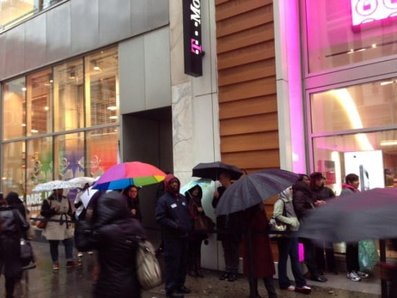 Lines for the T-Mobile iPhone 5 in New York City on launch day.