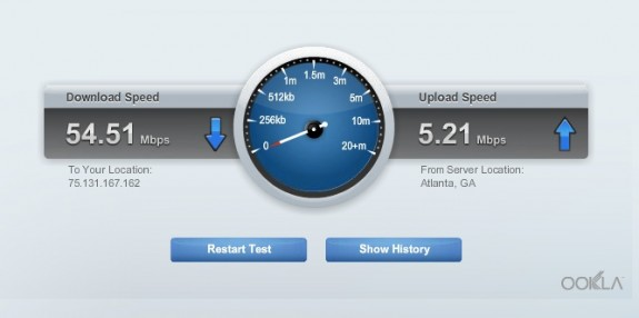 linksys wired speed test