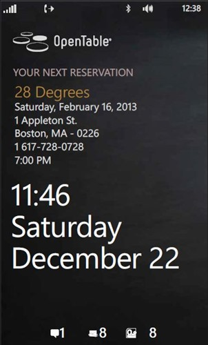 Lockscreen integration in OpenTable for Windows Phone 2.0