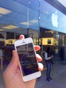 T-Mobile iPhone 5 in front of a San Francisco Apple Store