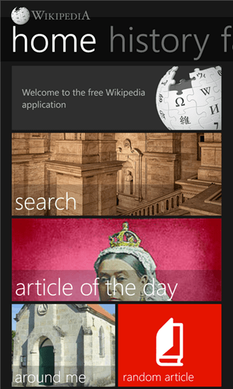 A screenshot of Windows Phone App Star winner, Wikipedia for Windows Phone.